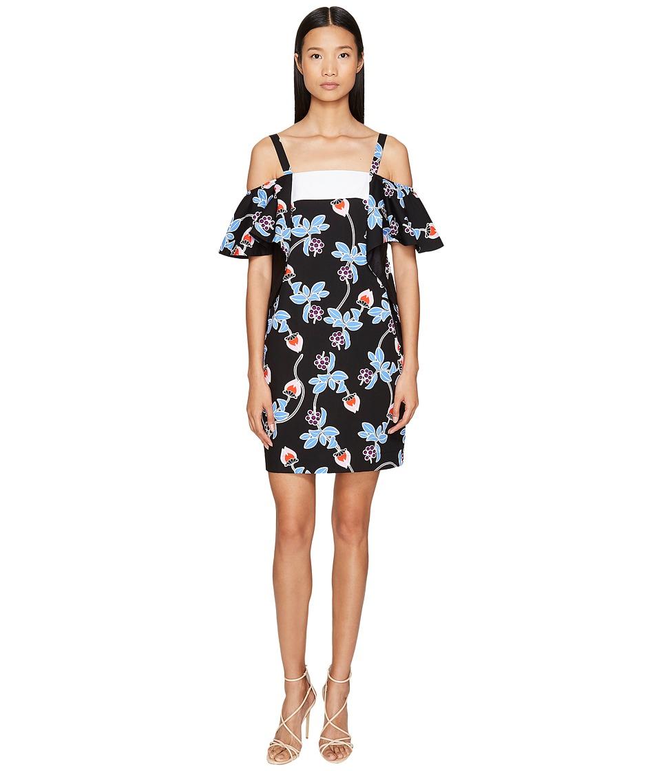 Sportmax - Marocco Strapless Floral Ruffle Dress (Black) Women's Dress