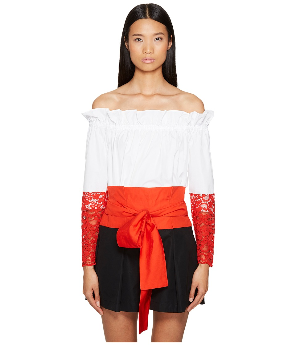 Sportmax - Samaria Off the Shoulder Long Sleeve Top (Optical White) Women's Long Sleeve Pullover