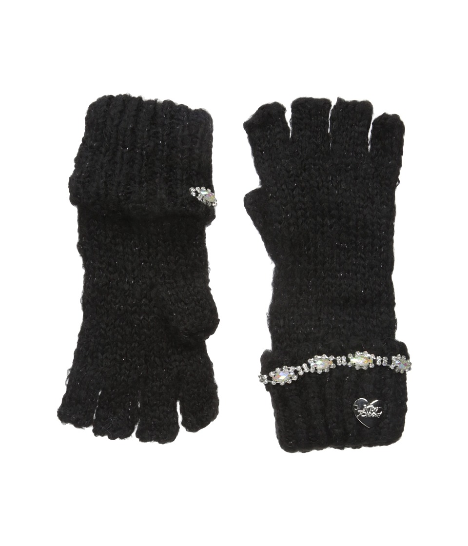 Betsey Johnson - On the Rocks Half Finger Gloves (Black) Dress Gloves