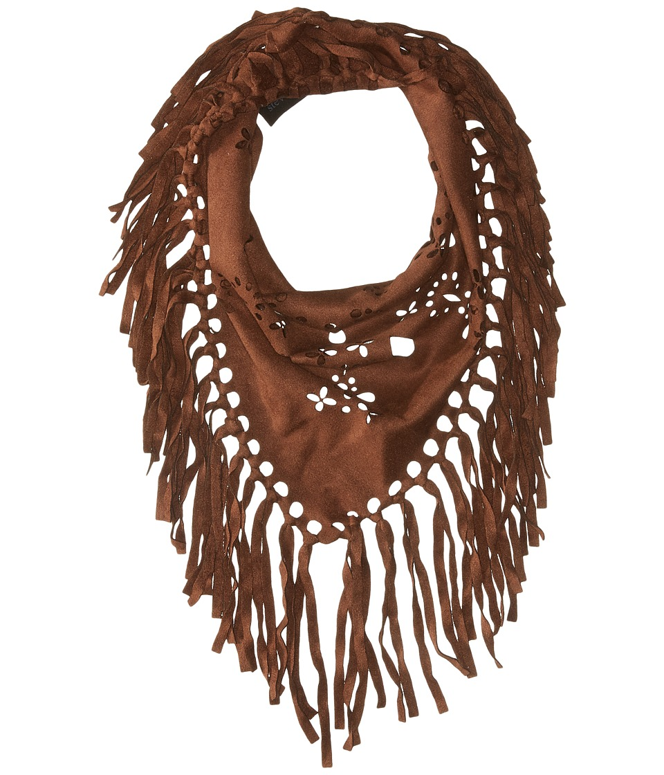 Steve Madden - Laser Cut Faux Suede Neckerchief (Brown) Scarves