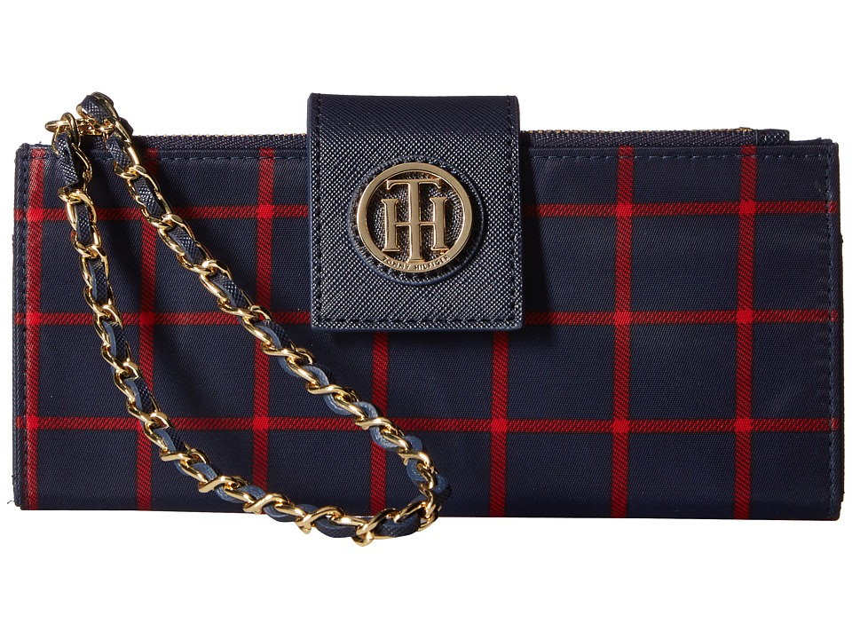 Tommy Hilfiger - Chain Wristlet Double Zip Plaid Nylon (Navy/Red) Wristlet Handbags
