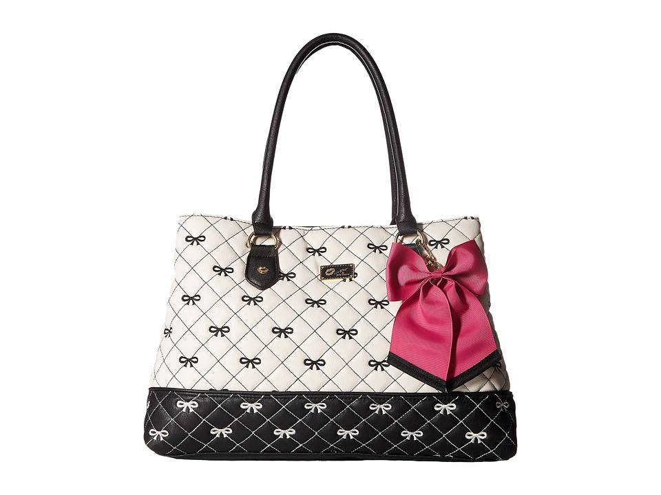 Luv Betsey - Carlie Satchel (Black/White) Satchel Handbags