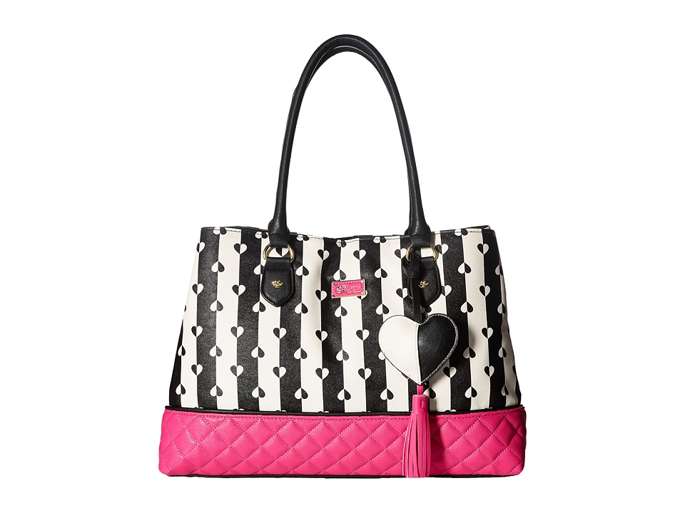 Luv Betsey - Carlie Satchel (Black/White Stripe) Satchel Handbags