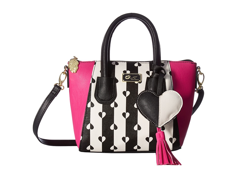 Luv Betsey - Giyaa Mini Satchel (Black/White Stripe) Satchel Handbags