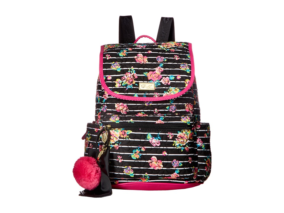 Luv Betsey - Fkout Cotton Quilted Backpack (Black/White) Backpack Bags
