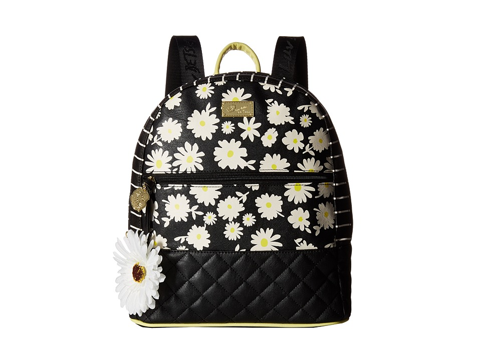 Luv Betsey - Dart PVC Quilted Backpack (Black/White) Backpack Bags