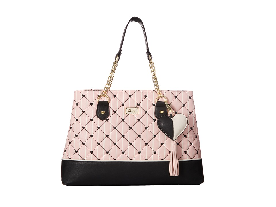 Luv Betsey - Chaney PVC Quilted Triple Compartment Satchel (Blush) Satchel Handbags
