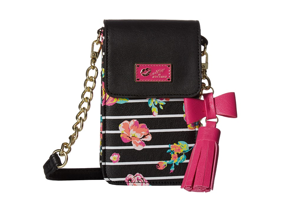 Luv Betsey - On The Go Quilted PVC Crossbody (Black/White) Cross Body Handbags