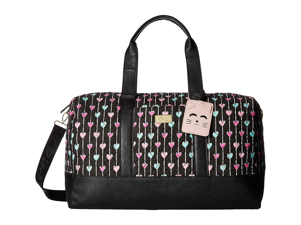 Luv Betsey - Maddy Cotton Quilted Weekender (Black/White) Weekender/Overnight Luggage