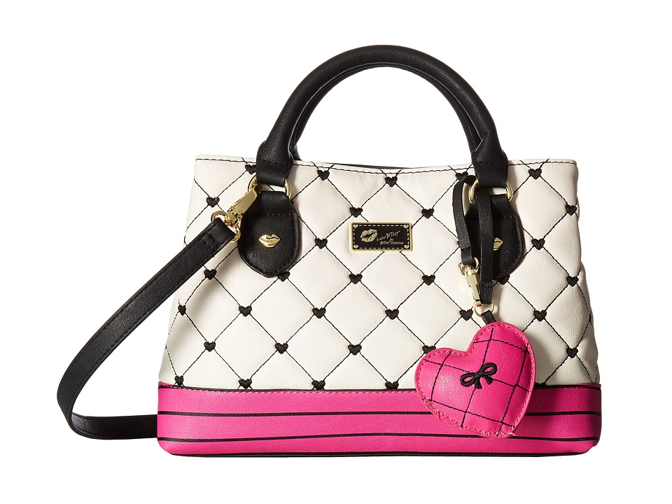 Luv Betsey - Candi Quilted Mini Triple Compartment Satchel (Black/White) Satchel Handbags