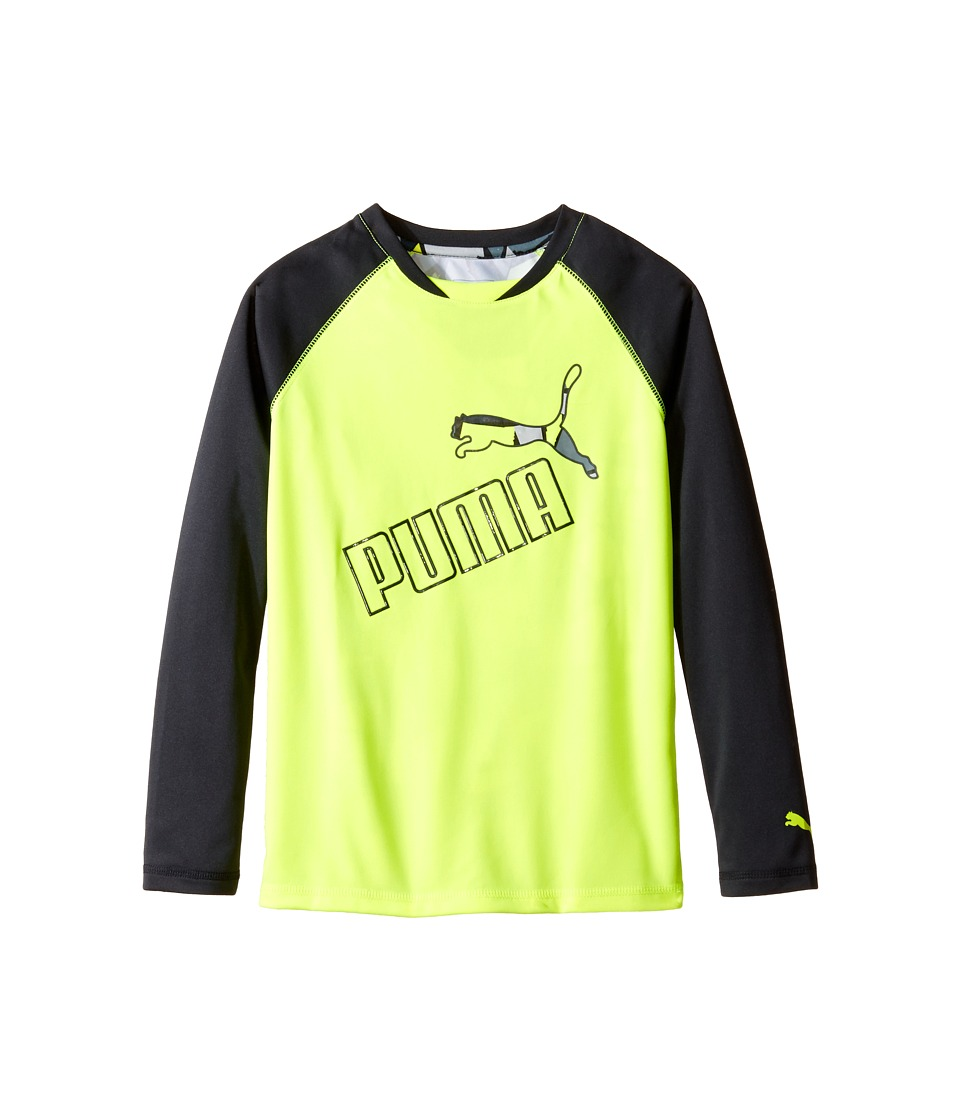 Puma Kids - Long Sleeve Printed Back Tee (Big Kids) (Acid Yellow) Boy's T Shirt