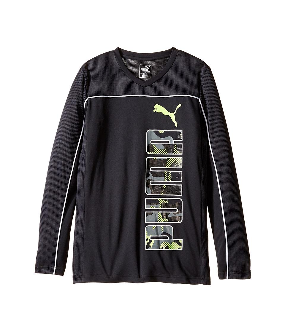 Puma Kids - Long Sleeve Poly PUMA Tee (Big Kids) (Dark Grey) Boy's T Shirt