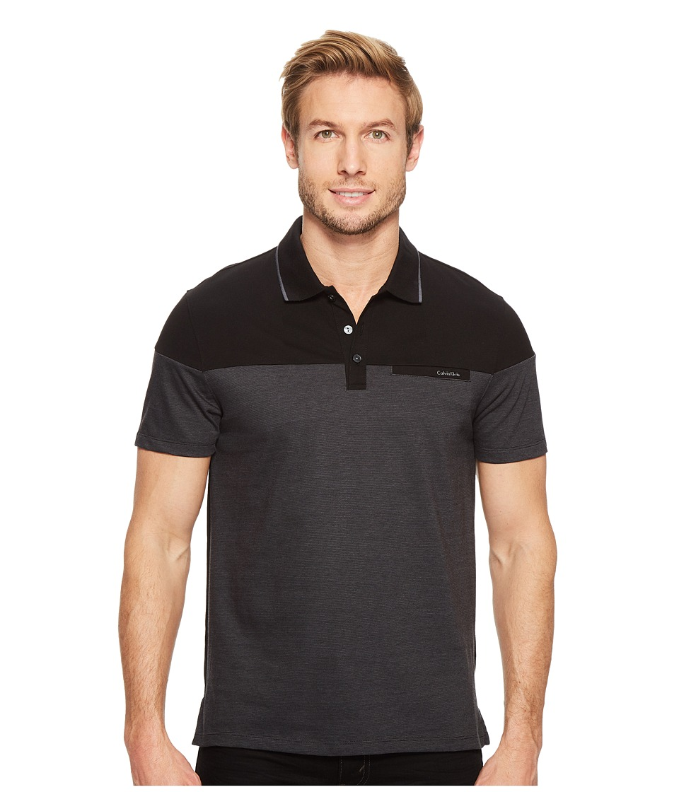 Calvin Klein - Short Sleeve Feeder Stripe Jersey Blocked Polo (Black Combo) Men's Short Sleeve Pullover
