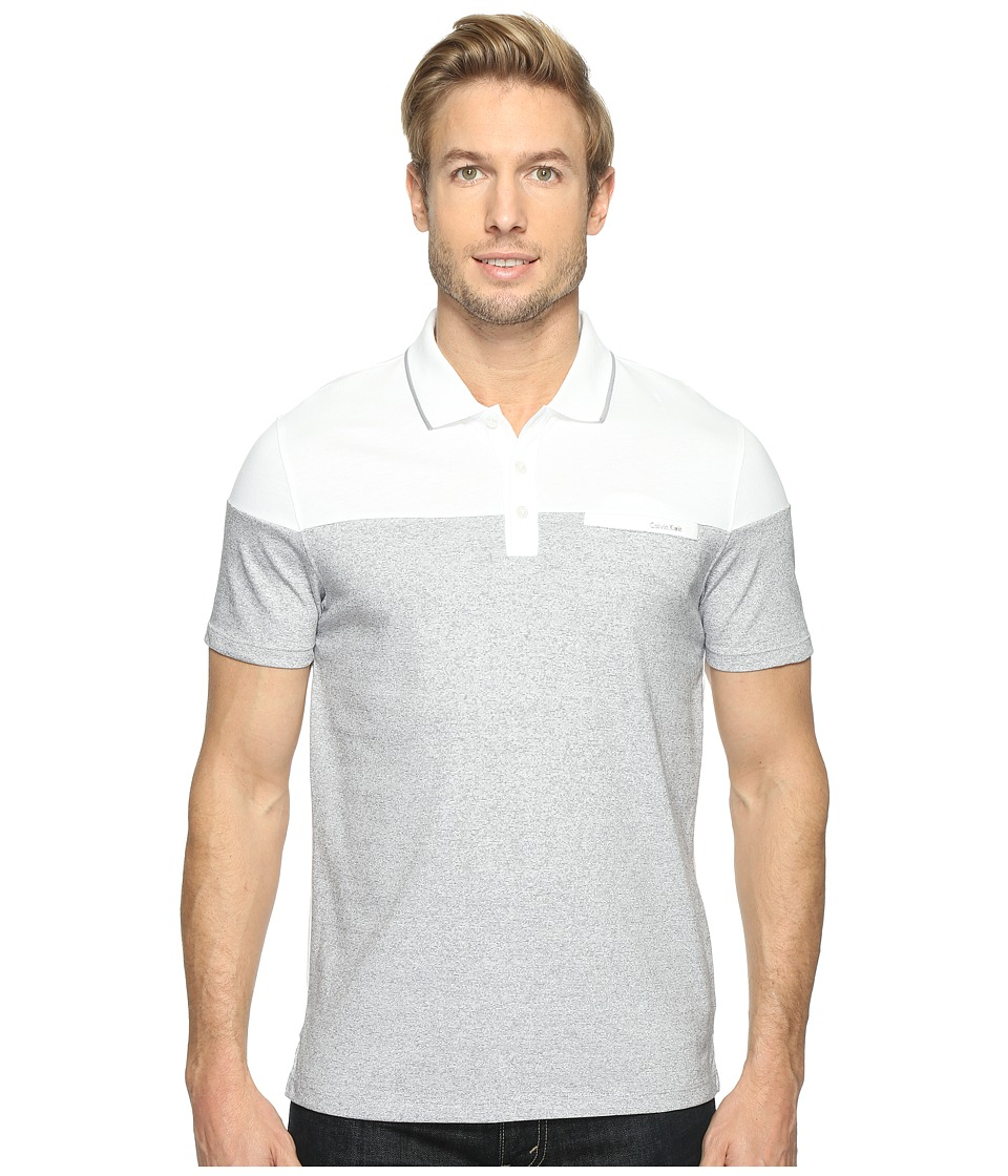 Calvin Klein - Short Sleeve Feeder Stripe Jersey Blocked Polo (White Combo) Men's Short Sleeve Pullover