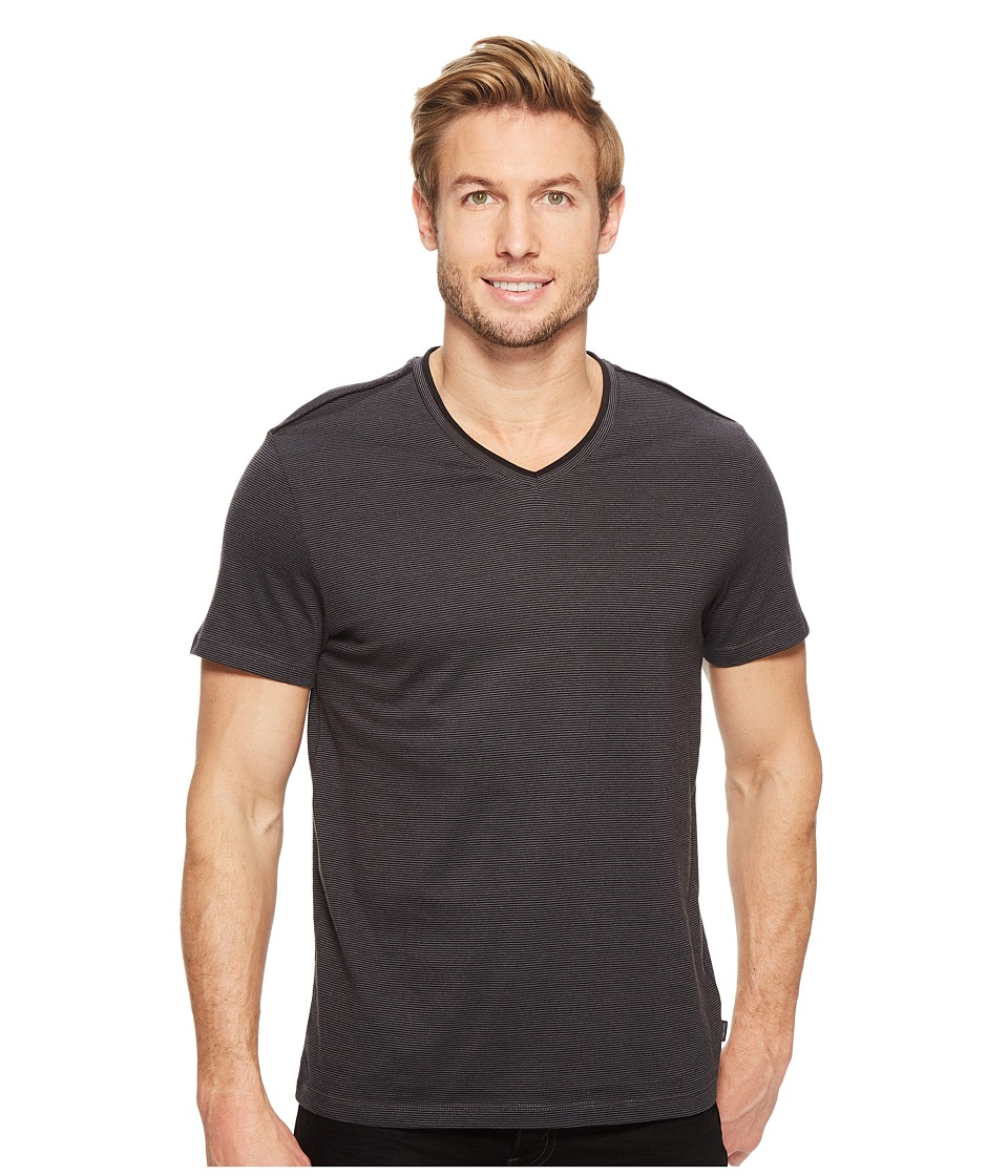 Calvin Klein - Pima Cotton Feeder Stripe Tee (Iron Gate) Men's T Shirt