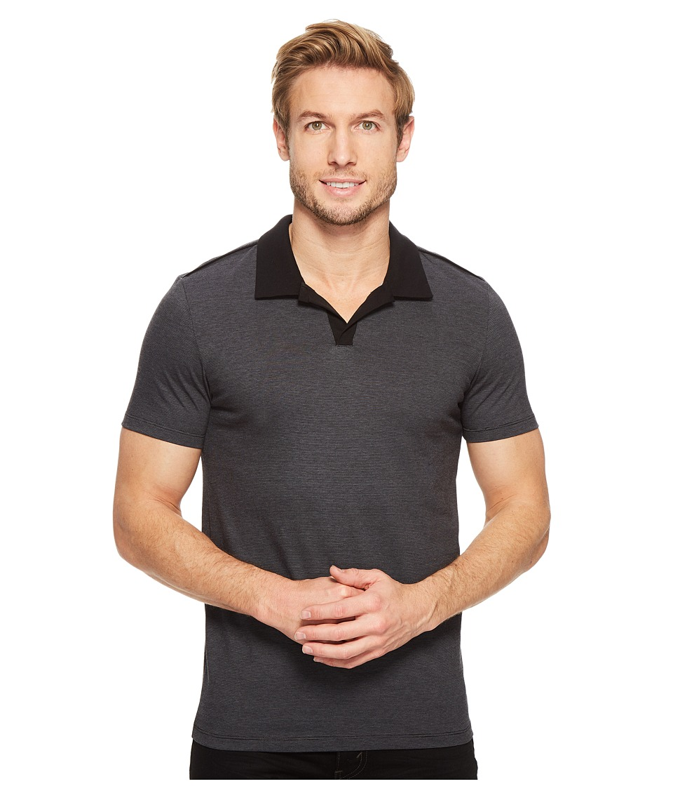 Calvin Klein - Liquid Jersey Yarn-Dye Polo (Iron Gate) Men's Short Sleeve Pullover