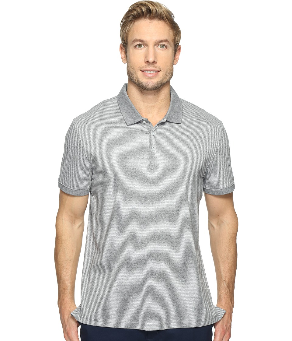Calvin Klein - Feeder Stripe Liquid Cotton Polo (Light Grey Heather) Men's Short Sleeve Pullover