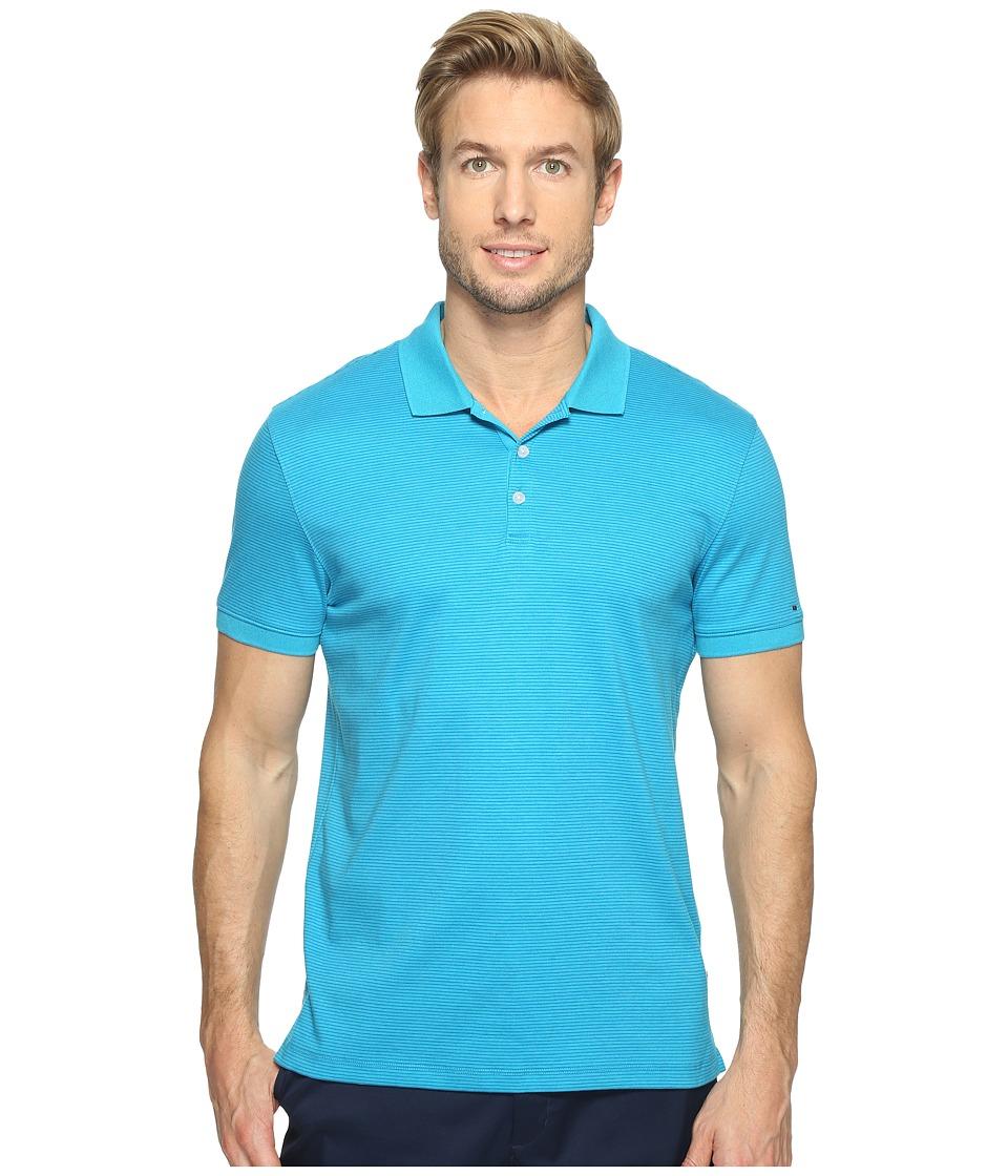 Calvin Klein - Feeder Stripe Liquid Cotton Polo (Teal Heather) Men's Short Sleeve Pullover