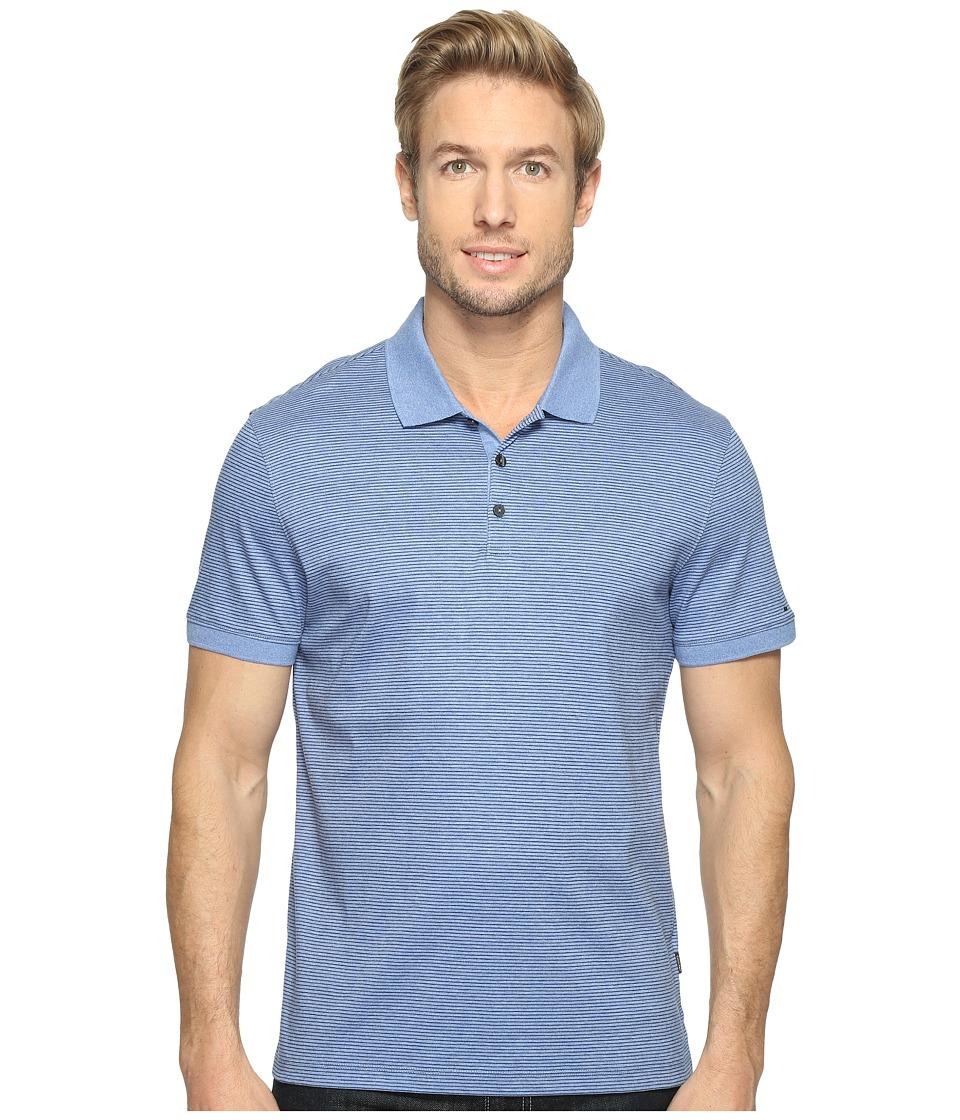 Calvin Klein - Feeder Stripe Liquid Cotton Polo (Purple Heather) Men's Short Sleeve Pullover