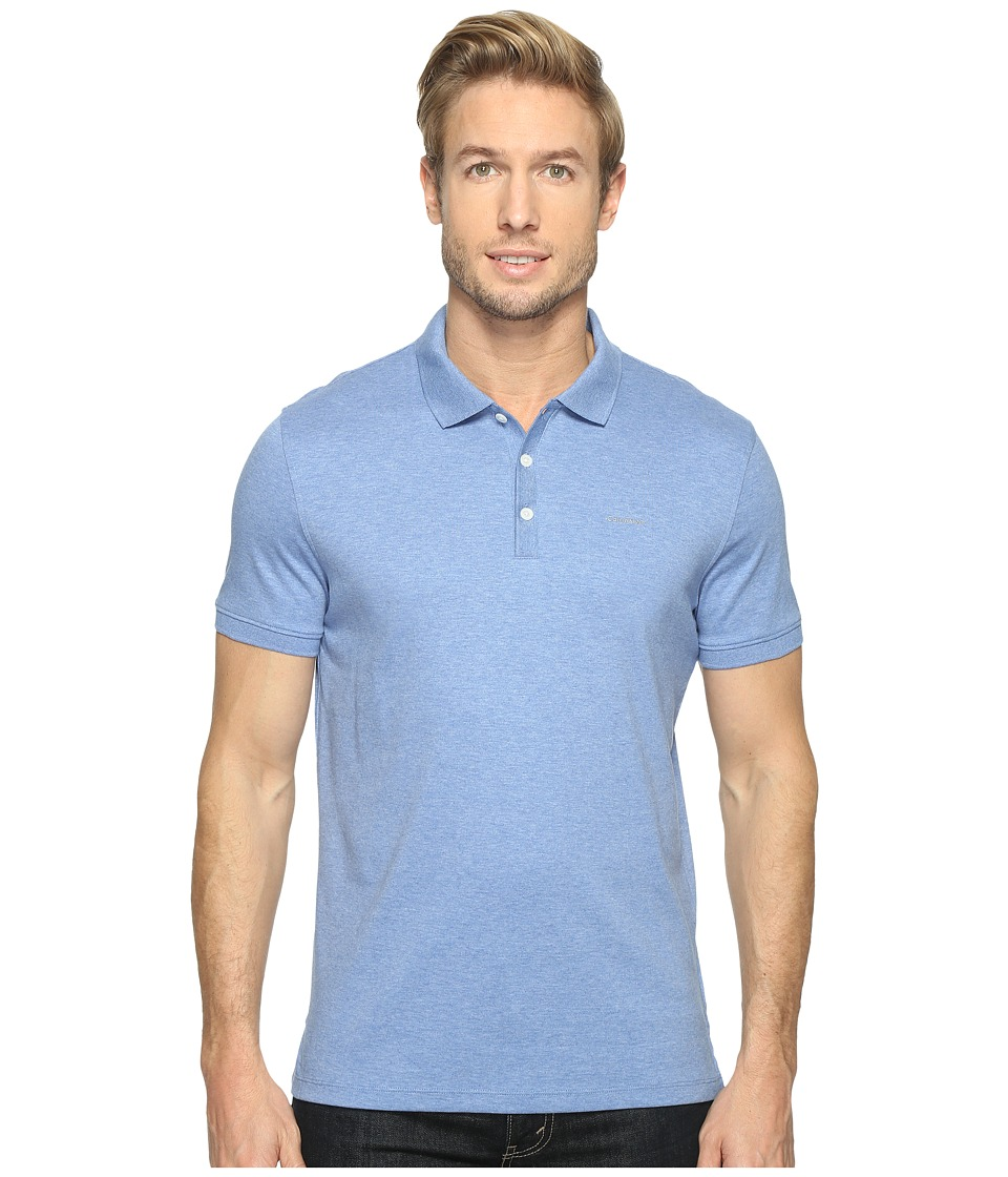 Calvin Klein - Liquid Cotton Polo (Pale Sky Heather) Men's Short Sleeve Pullover