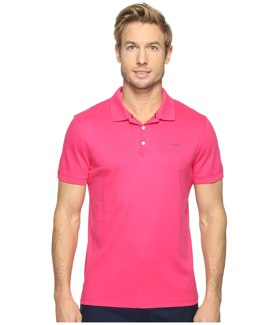 Calvin Klein - Liquid Cotton Polo (Magenta) Men's Short Sleeve Pullover