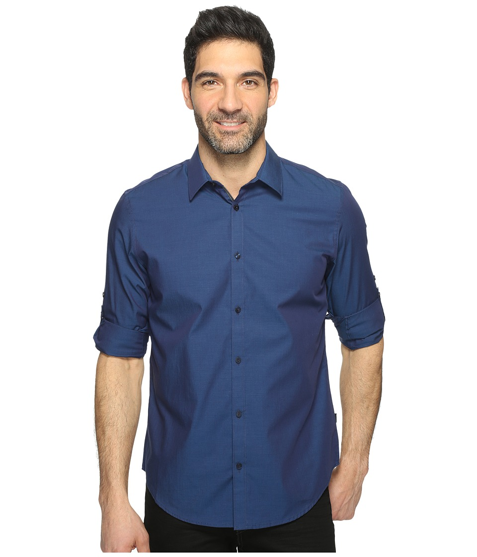 Calvin Klein - Chambray Button Down (Cadet Navy) Men's Long Sleeve Button Up