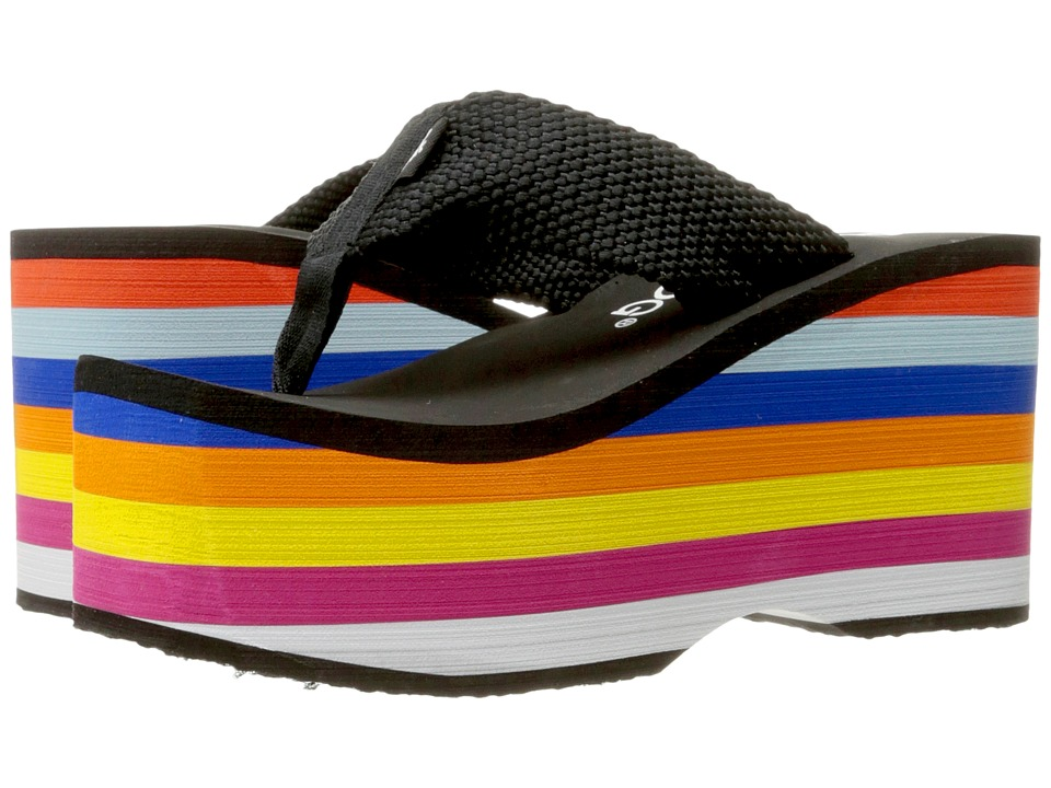 Rocket Dog - Bigtop (Black/Rainbow Eva Webbing) Women's Sandals