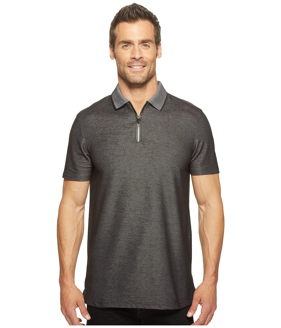 Calvin Klein - Two-Tone Pique Polo with Logo Zipper (Black) Men's Short Sleeve Pullover