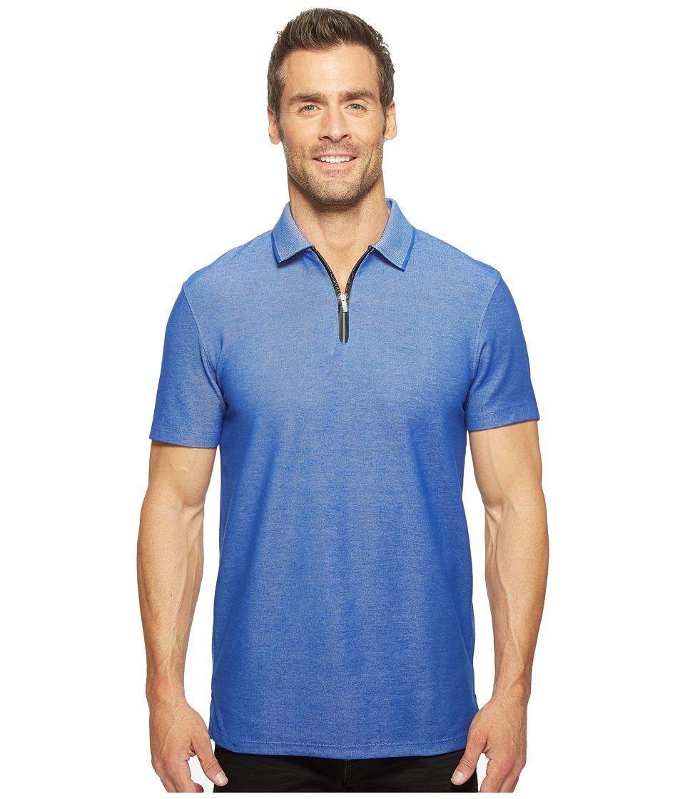Calvin Klein - Two-Tone Pique Polo with Logo Zipper (Surf the Web) Men's Short Sleeve Pullover