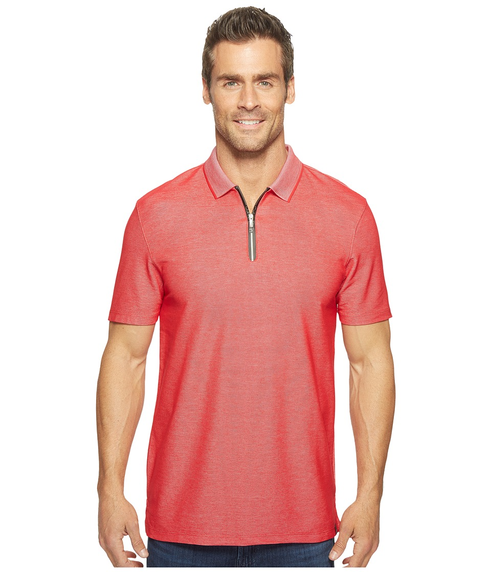 Calvin Klein - Two-Tone Pique Polo with Logo Zipper (Lollipop) Men's Short Sleeve Pullover