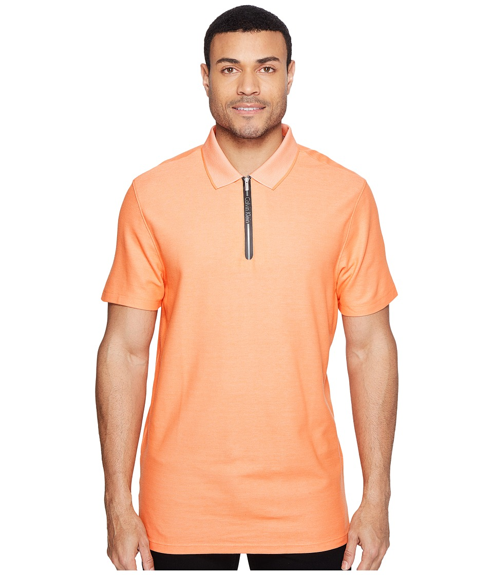Calvin Klein - Two-Tone Pique Polo with Logo Zipper (Nectarine) Men's Short Sleeve Pullover