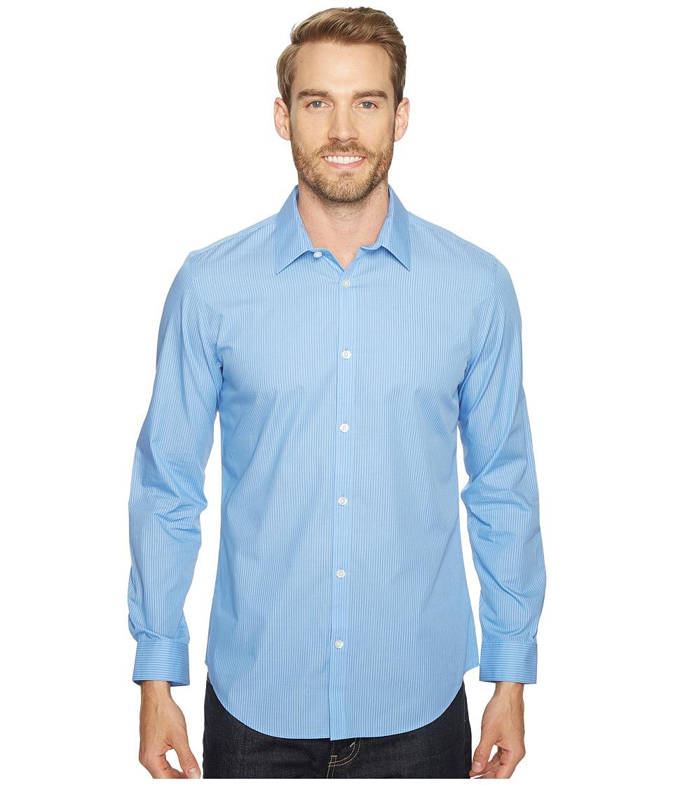 Calvin Klein - Infinite Cool Stripe Button Down (Strong Blue) Men's Long Sleeve Button Up