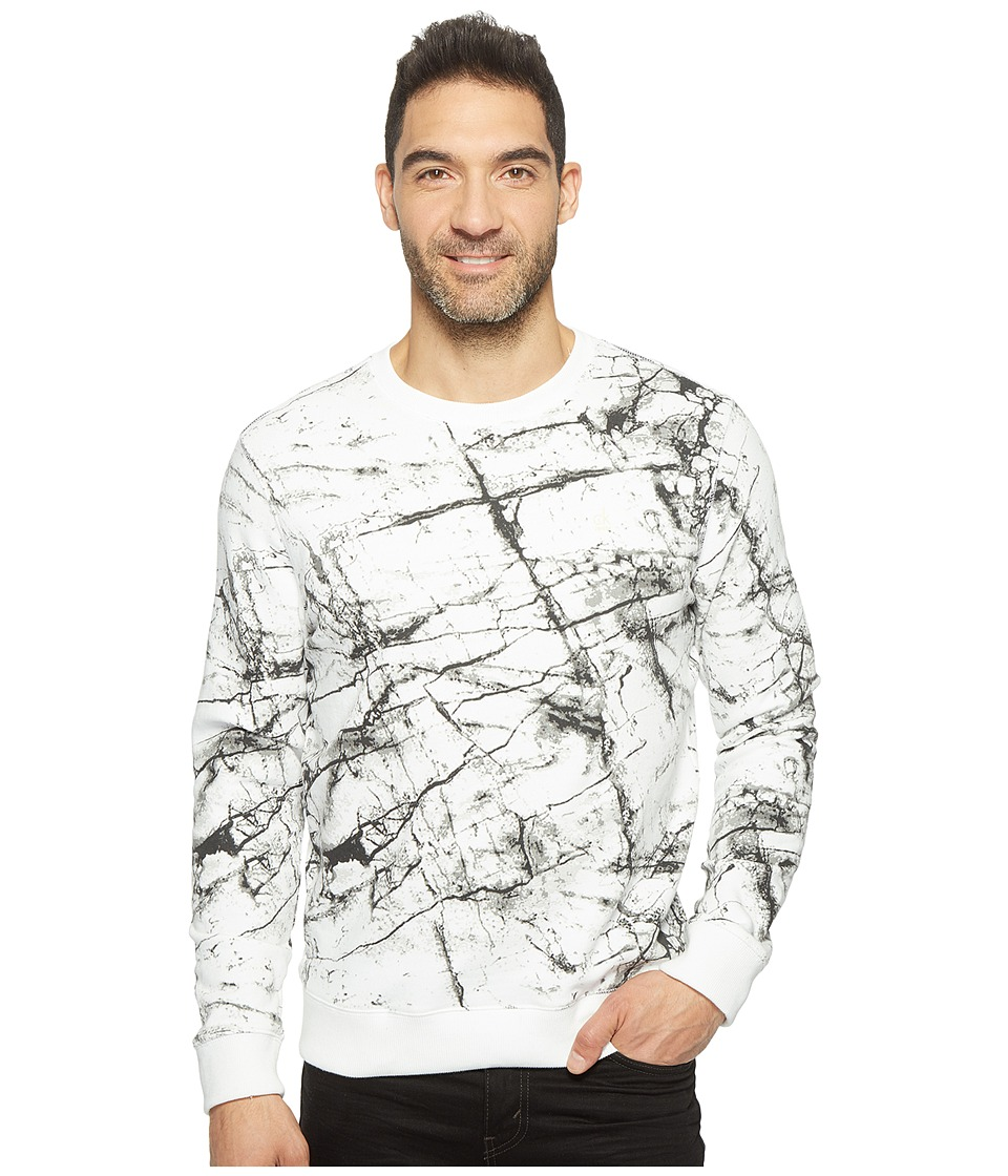 Calvin Klein Jeans - Marble Printed Crew Neck Sweatshirt (White Wash) Men's Sweatshirt