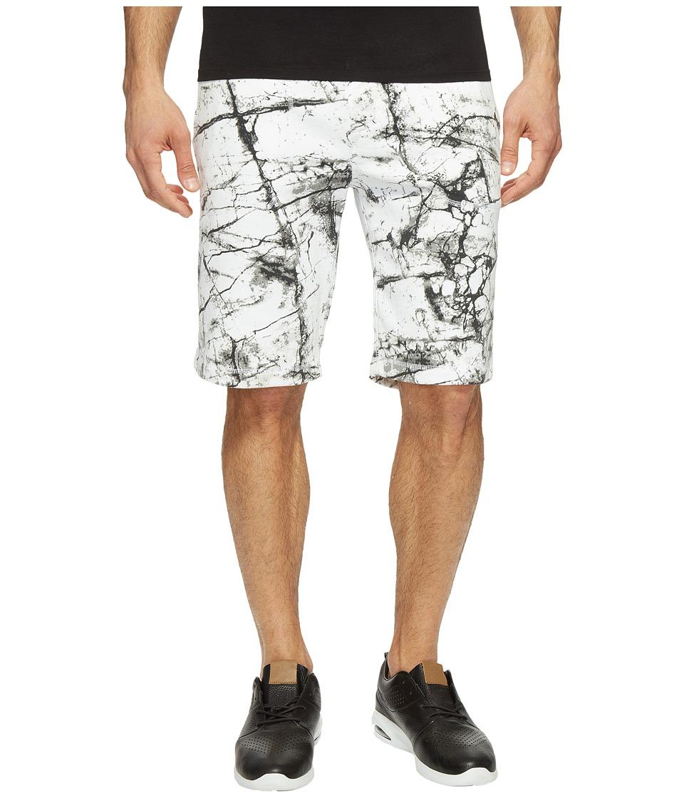 Calvin Klein Jeans Marble Print Knit Shorts (White Wash) Men