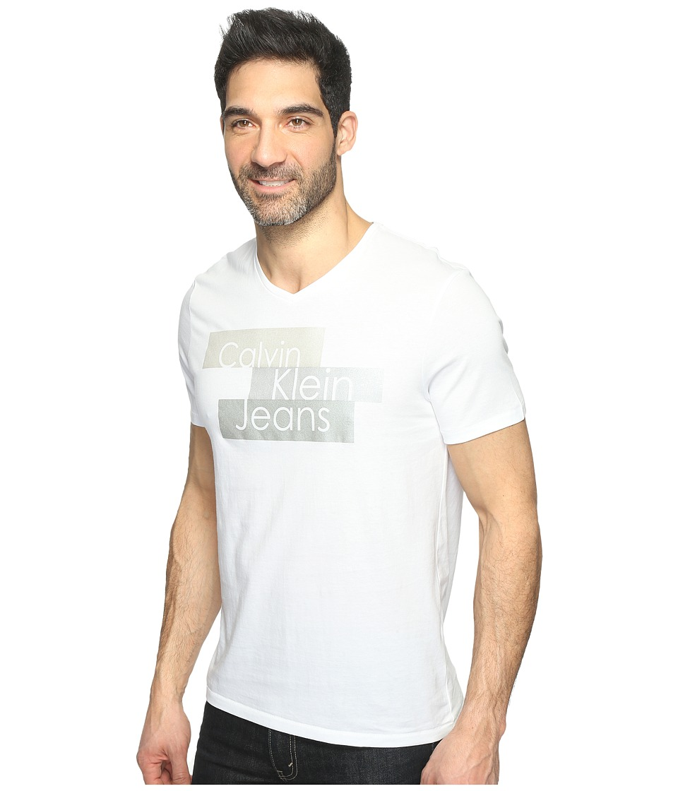 Calvin Klein Jeans - Metallic Blocks Logo Tee (White Wash) Men's T Shirt