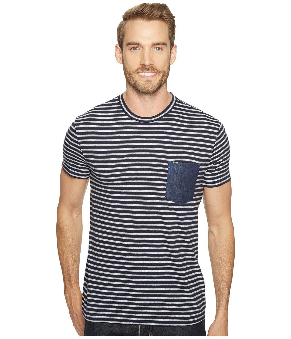 Calvin Klein Jeans - Stripe Tee with Denim Pocket (Navy Armada) Men's T Shirt