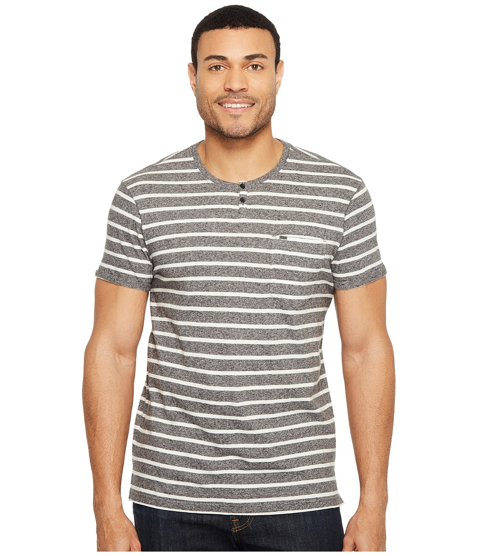 Calvin Klein Jeans Ecru Stripe Slit Neck Tee (Charcoal Grindle) Men