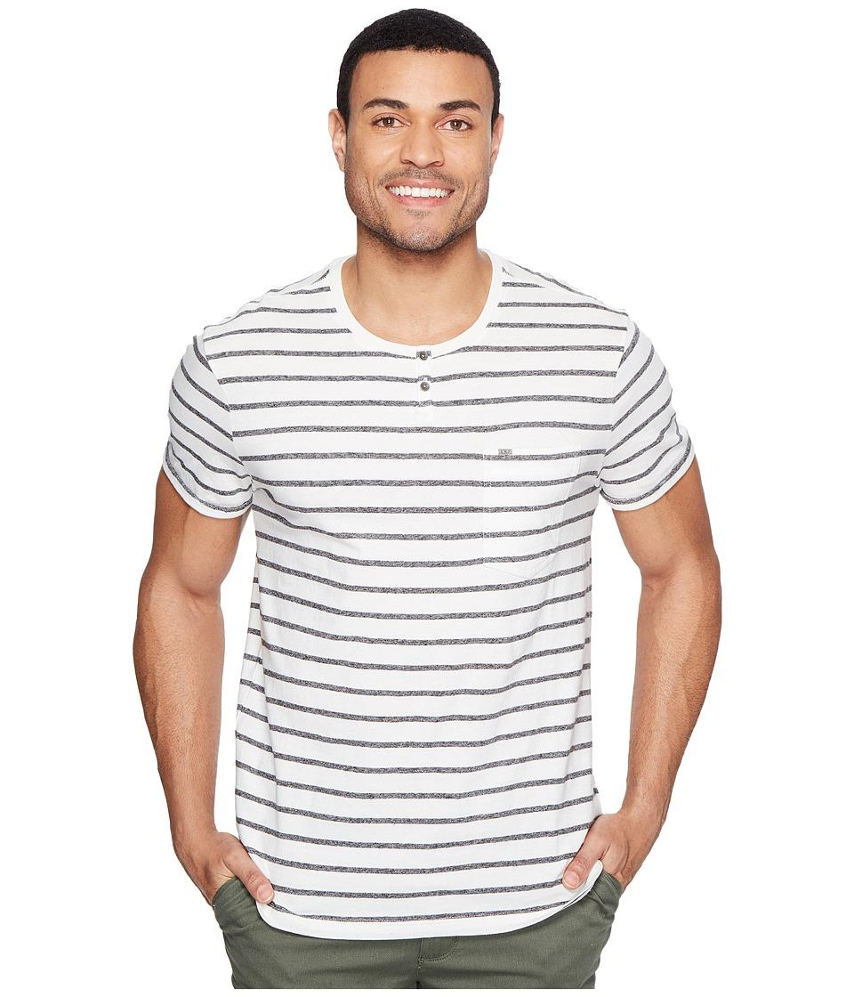 Calvin Klein Jeans - Ecru Stripe Slit Neck Tee (Ecru) Men's T Shirt