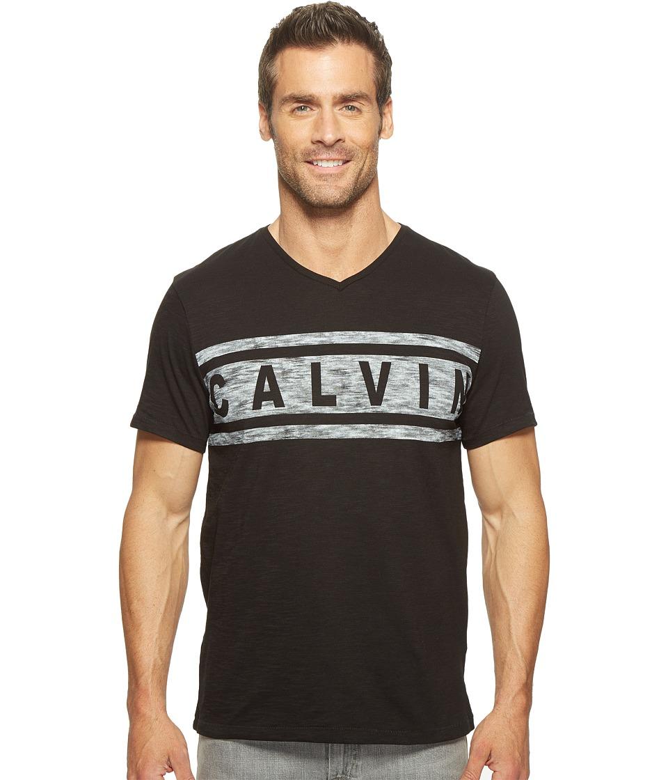 Calvin Klein Jeans - Stripe Calvin Logo V-Neck Tee (Black) Men's T Shirt