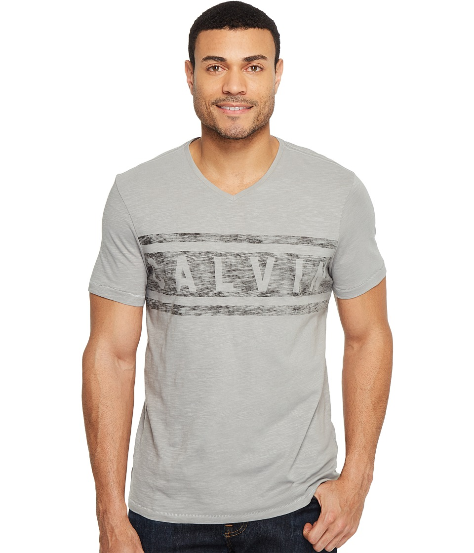 Calvin Klein Jeans Stripe Calvin Logo V-Neck Tee (Chrome) Men