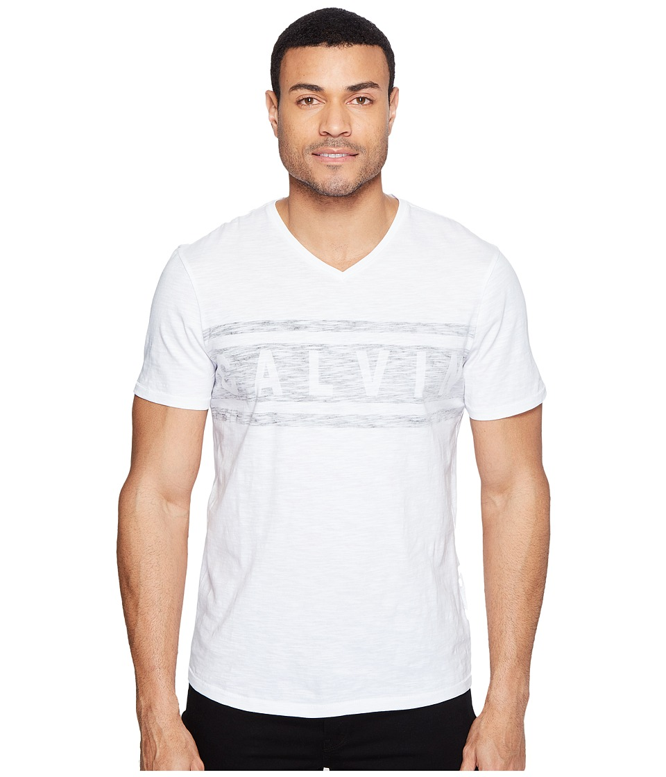 Calvin Klein Jeans Stripe Calvin Logo V-Neck Tee (White Wash) Men