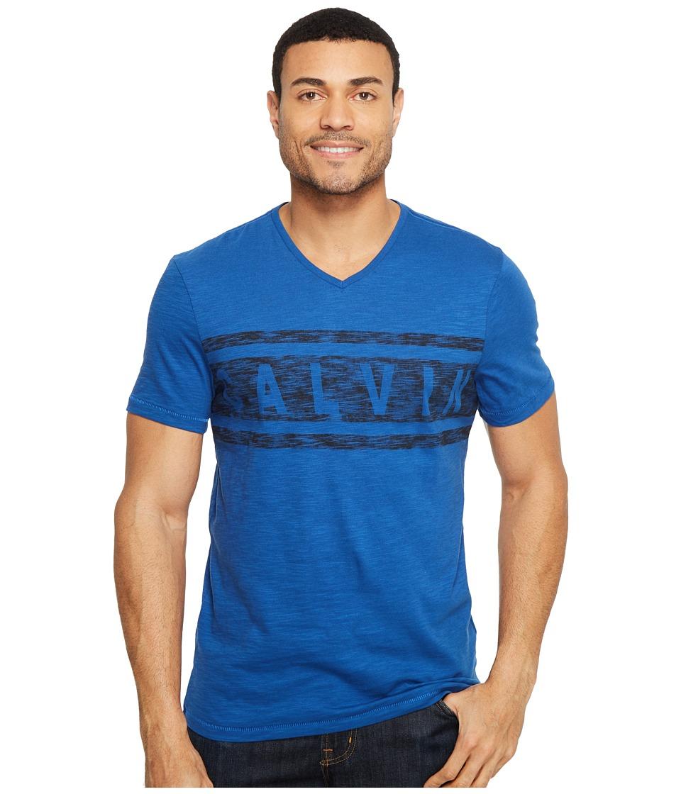 Calvin Klein Jeans - Stripe Calvin Logo V-Neck Tee (Monaco Blue) Men's T Shirt