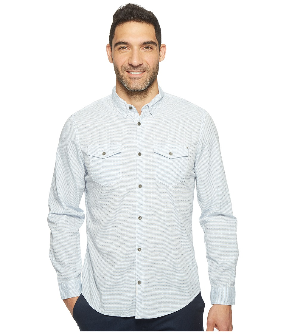 Calvin Klein Jeans - Float Pattern Dobby Weave Button Down (Dusty Blue) Men's Long Sleeve Button Up