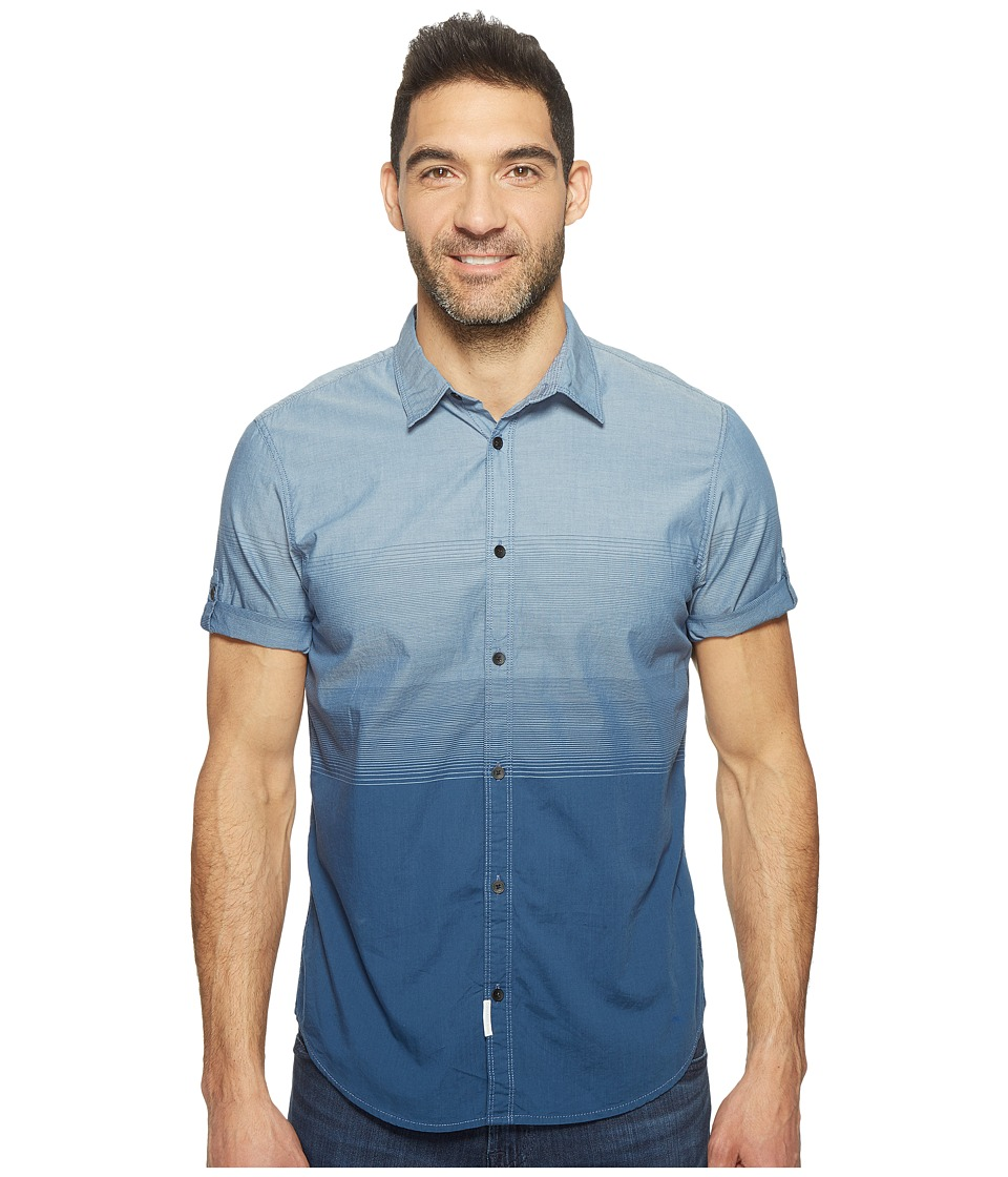 Calvin Klein Jeans - Short Sleeve Ombre Button Down (Insignia Blue) Men's Short Sleeve Button Up