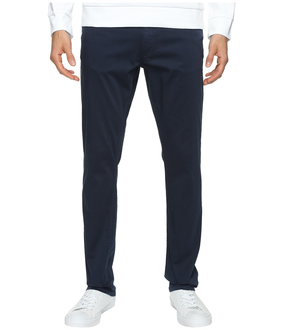 Calvin Klein Jeans - Slim Straight Stretch Sateen Pants (Navy Storm) Men's Casual Pants