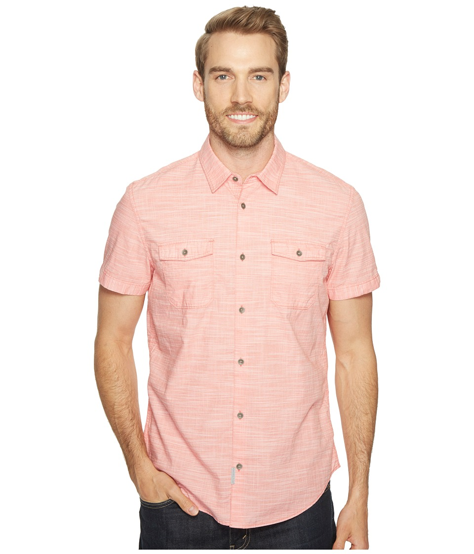 Calvin Klein Jeans - Cross Hatch Slub Button Down Shirt (Daredevil Orange) Men's Short Sleeve Button Up