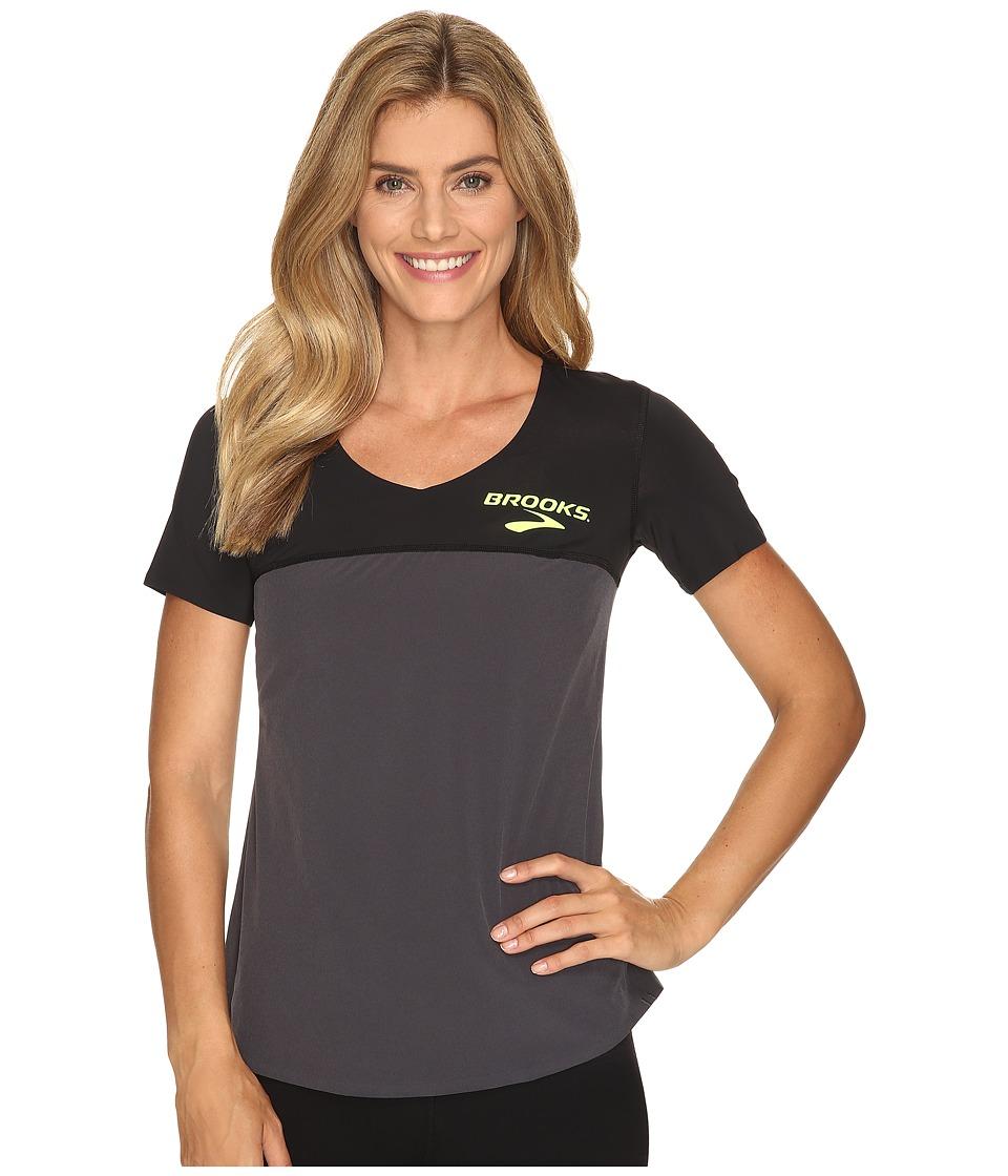 Brooks - Elite Short Sleeve (Heather Black) Women's Clothing