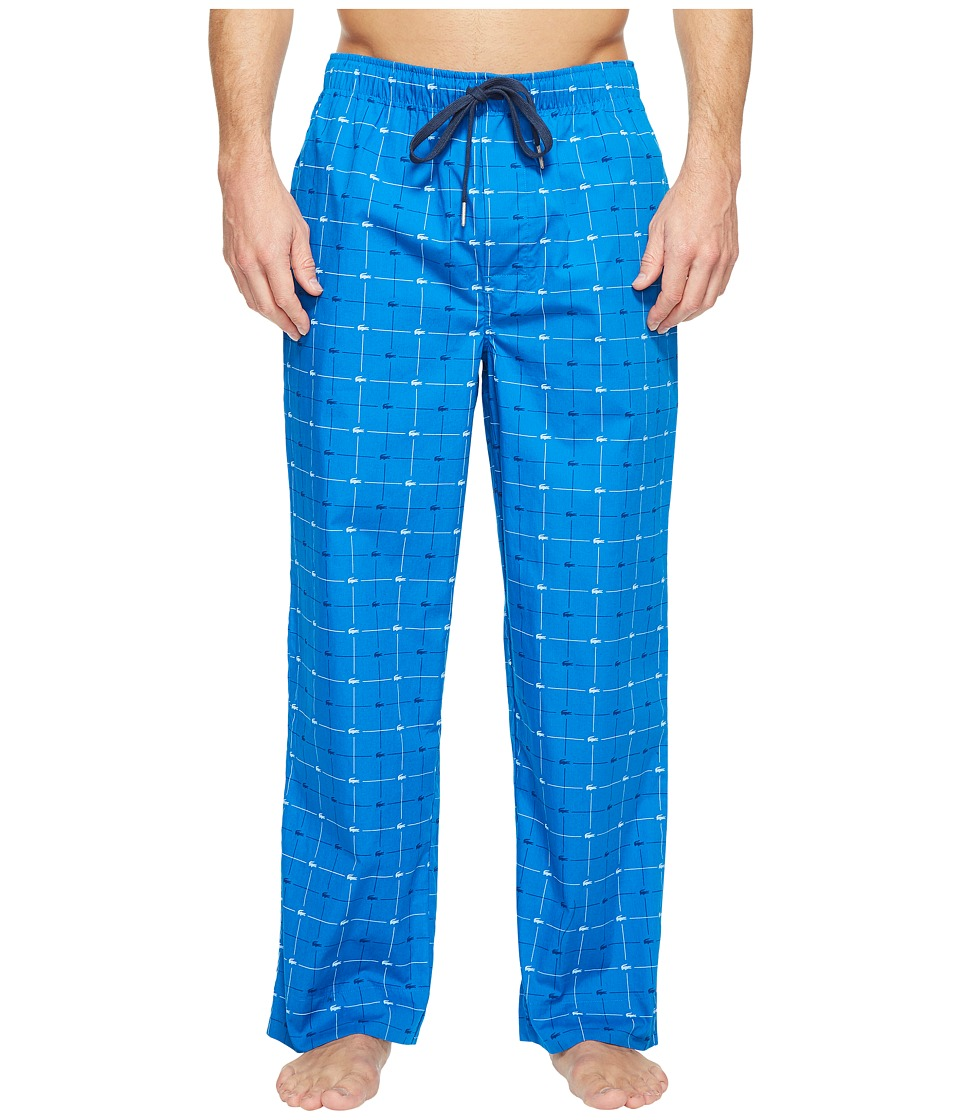 Lacoste - Baseline Woven Lounge Signature Print Sleep Pants (Cobalt) Men's Pajama