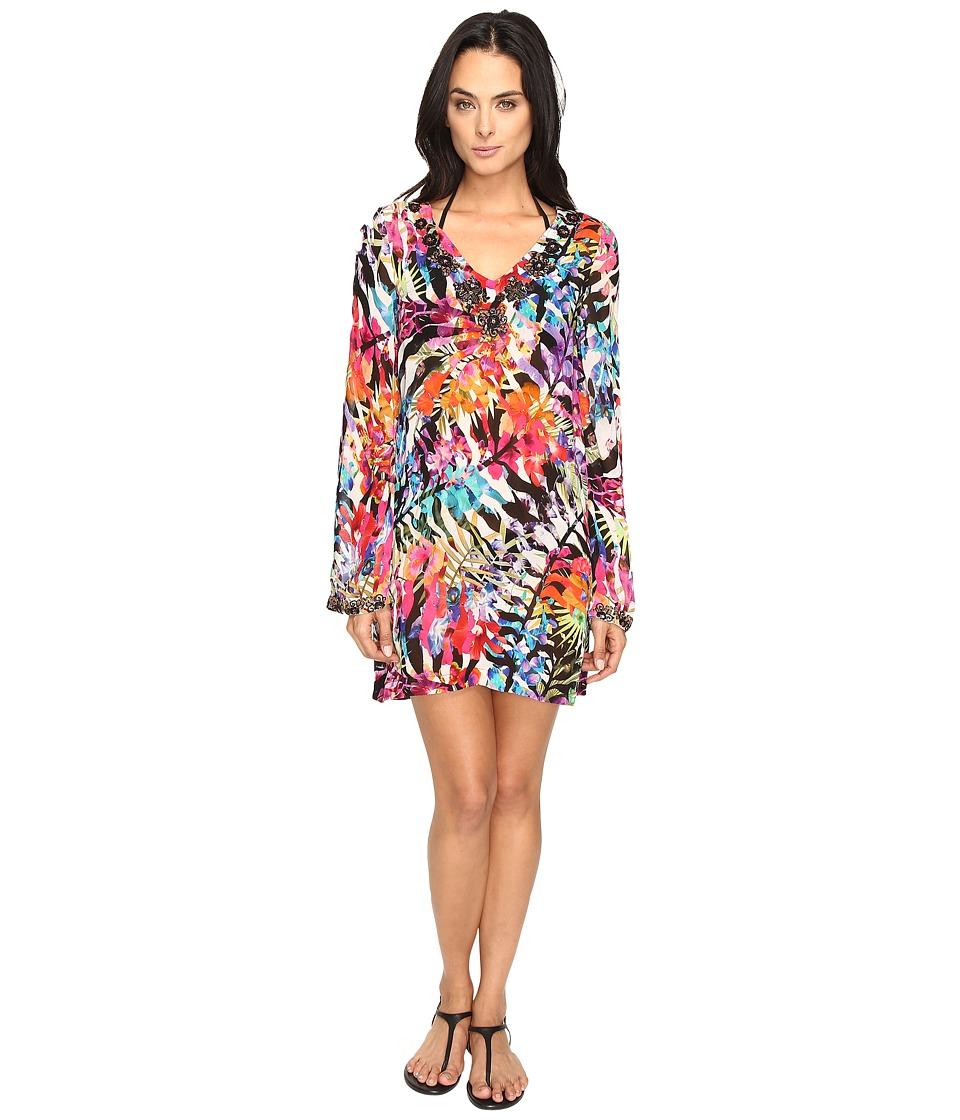 Nicole Miller - La Plage by Nicole Miller Tropical Palms Dress Cover-Up (Multi) Women's Swimwear