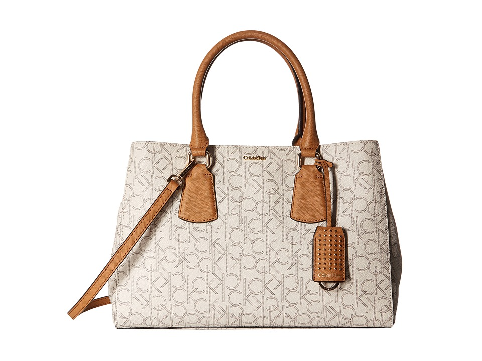 Calvin Klein - Kate Monogram Satchel (Almond/Khaki/Cashew) Satchel Handbags
